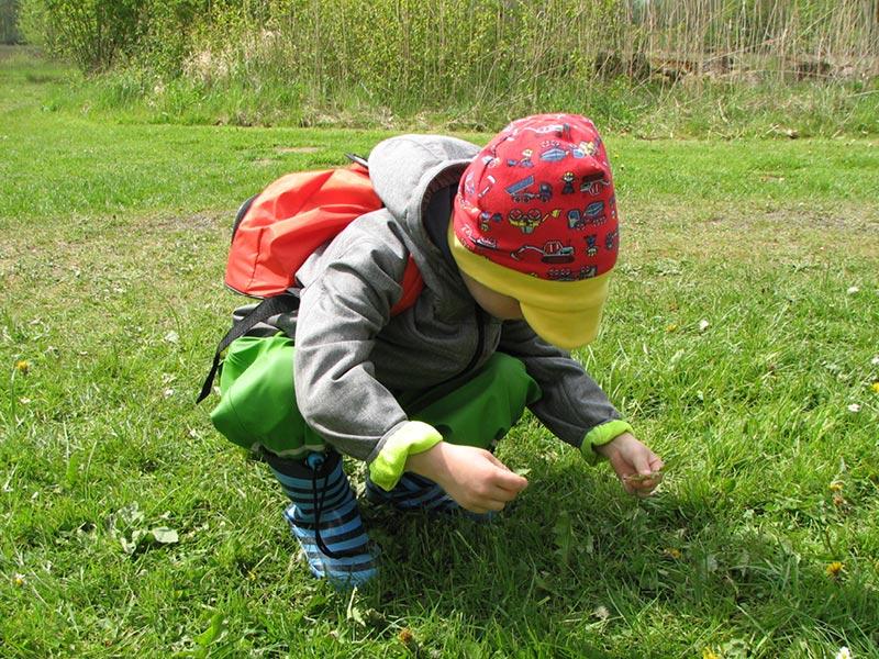 Kind erkundet die Wiese